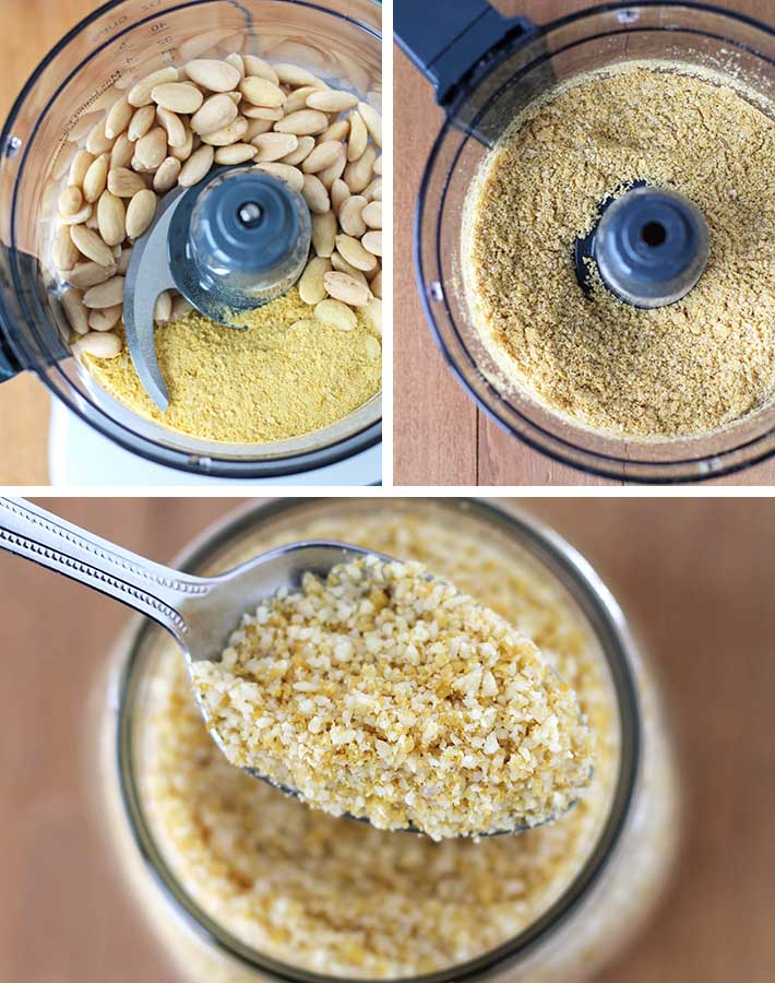 First sequence of steps needed to make vegan parmesan.