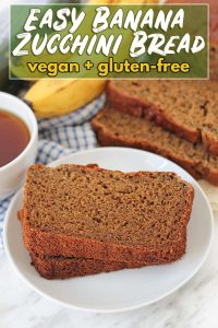A moist, flavourful, and delicious vegan gluten-free banana zucchini bread recipe. It's super easy to make and is perfect for snacks or to have with tea.