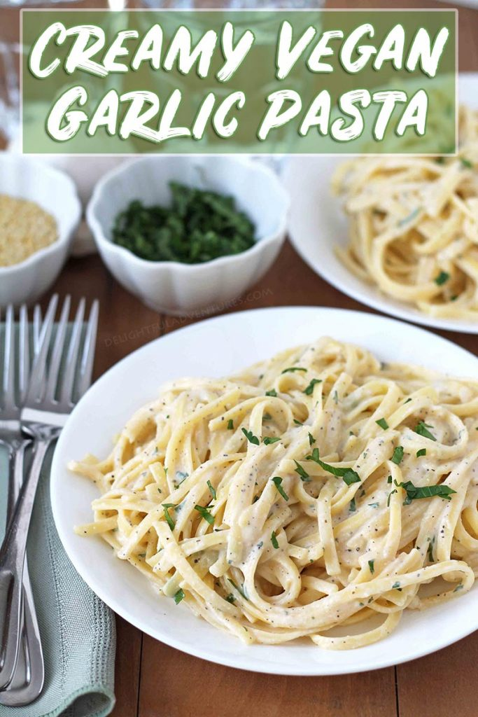 This quick, tasty vegan garlic pasta is a creamy, easy vegan dinner idea that's perfect for busy weeknights. You can even pre-make the sauce to save time!