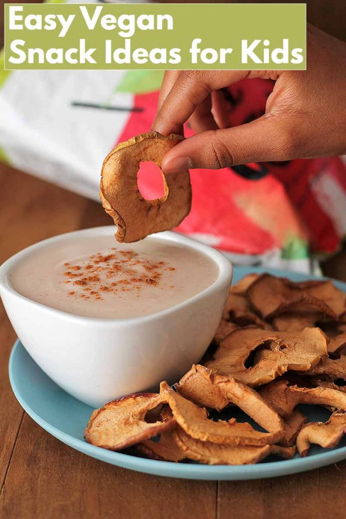 Looking for simple, easy vegan snacks for kids? This list of gluten-free snacks will give you some good ideas and you'll also find a recipe for an easy vegan yogurt dip they'll love!