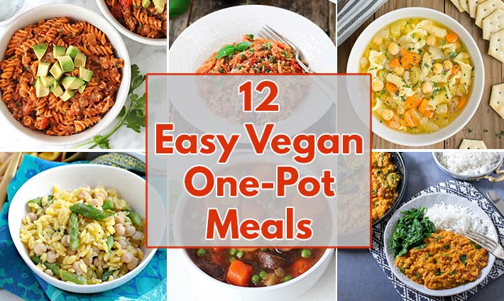 A collage of 6 images of easy vegan one-pot meals.