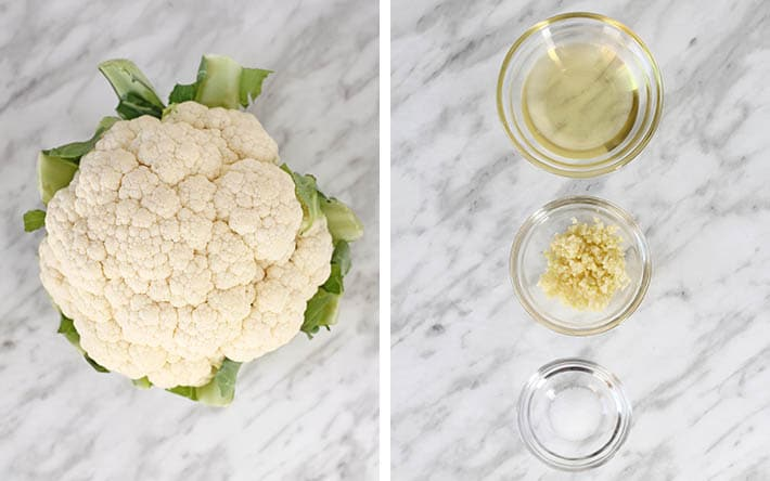 The four ingredients needed to make roasted garlic cauliflower.
