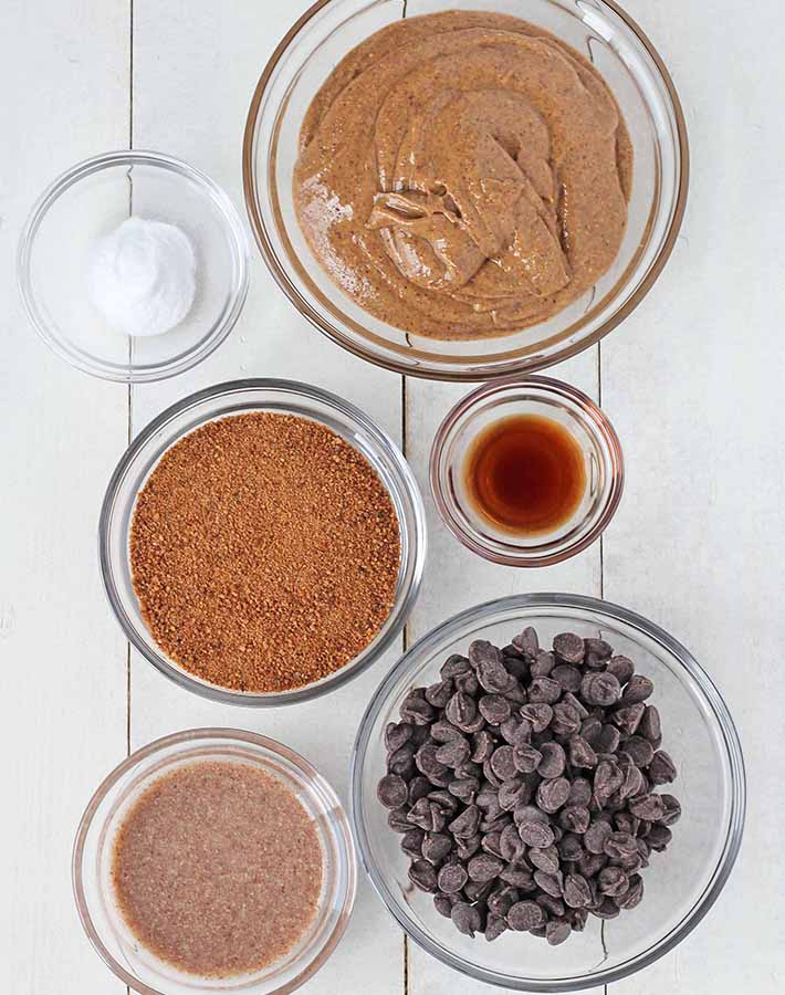 An overhead shot of the ingredients needed to make Vegan Almond Butter Cookies.