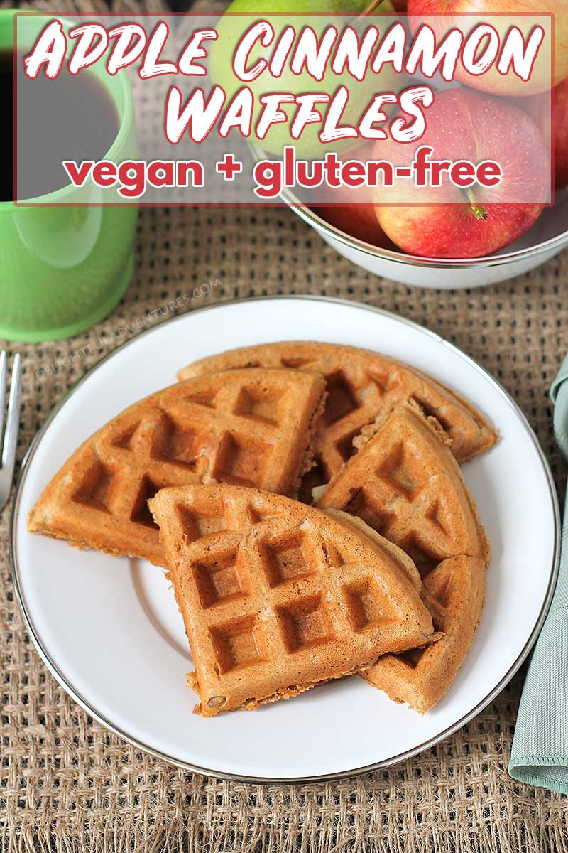 Vegan gluten-free apple cinnamon waffles that are crispy on the outside and fluffy on the inside. They're easy-to-make, perfectly spiced, and so delicious!
