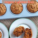Simple and easy-to-make, these vegan gluten-free carrot coconut muffins with applesauce are a delicious snack for lunches or for enjoying with tea or coffee.