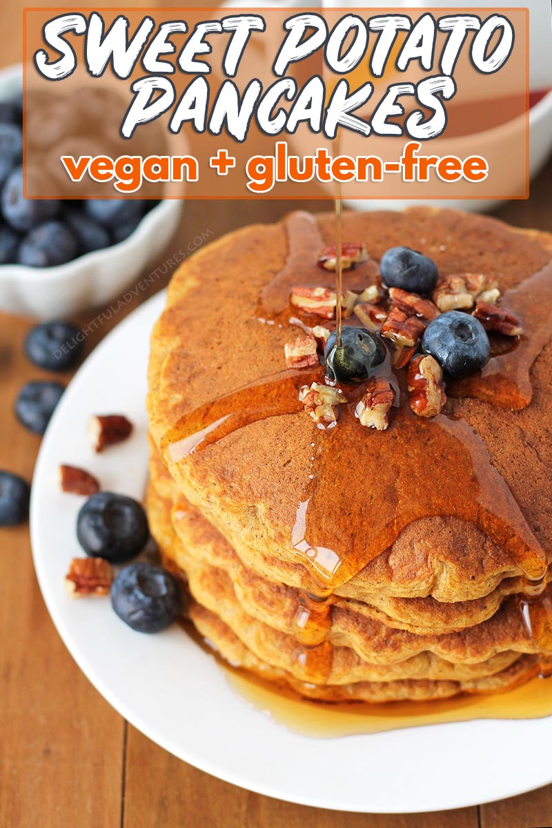 Fluffy, delicious gluten free sweet potato pancakes that also happen to be vegan! These easy pancakes are the perfect addition for your breakfast table.