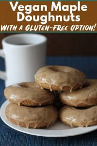 Maple doughnuts that can be made vegan or vegan and gluten-free! The spices and the maple-glaze make these baked doughnuts extra special and perfect to serve as a special treat.