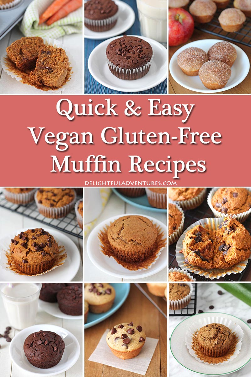 Super easy, irresistible vegan gluten free muffins that are all quick to make and delicious! Have them at breakfast, for snacks, or with tea/coffee.