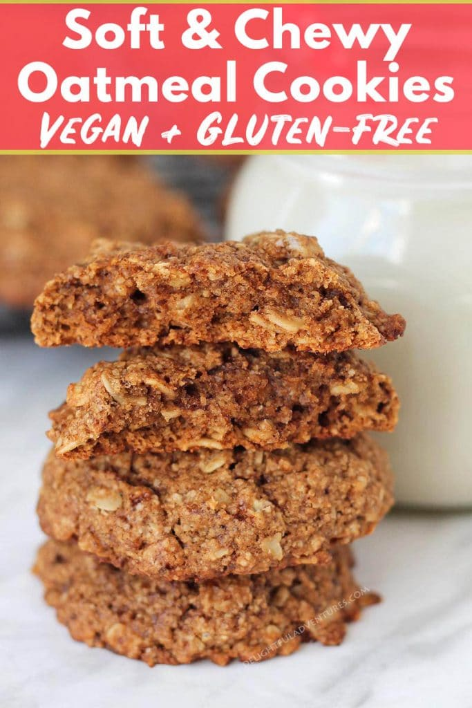 Soft and chewy oatmeal cookies that also happen to be vegan and gluten-free! This recipe requires minimal ingredients and you can have them ready to serve in under 30-minutes!