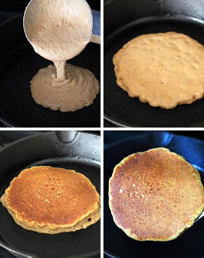 Second sequence of steps needed to make gluten free sweet potato pancakes.