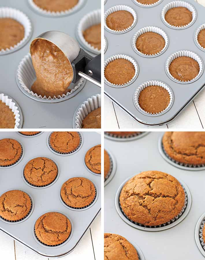 Second sequence of steps needed to make vegan gluten free banana muffins.