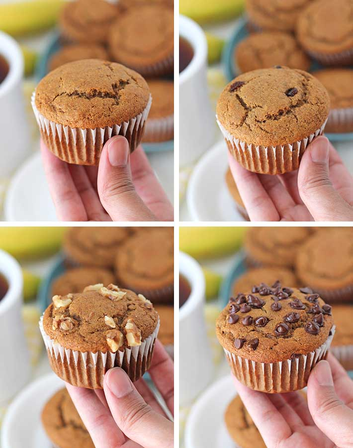 A collage showing the four types of vegan gluten free banana muffin variations you can make with this recipe..