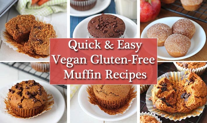 A collage of six vegan gluten free muffin recipe images