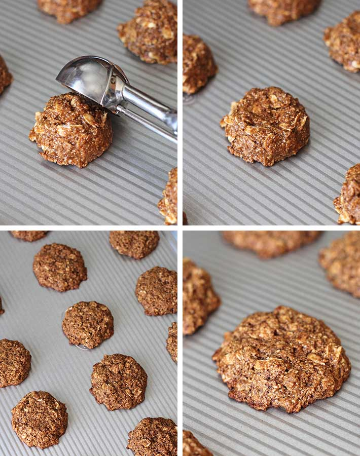 A collage of 4 images showing the second sequence of steps needed to make oatmeal cookies.