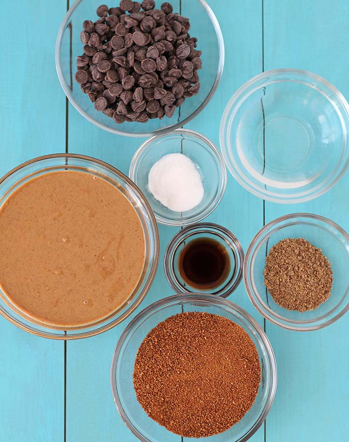 The seven ingredients needed to make Vegan Gluten Free Peanut Butter Cookies.