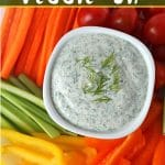 This is the perfect creamy vegan veggie dip to serve at a party, a potluck, or just for snacking on at home. It's nut-free, dairy-free, and oil-free!