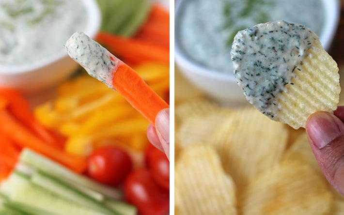 Two images showing some choices for what to dip into vegan veggie dip (chips and veggies).