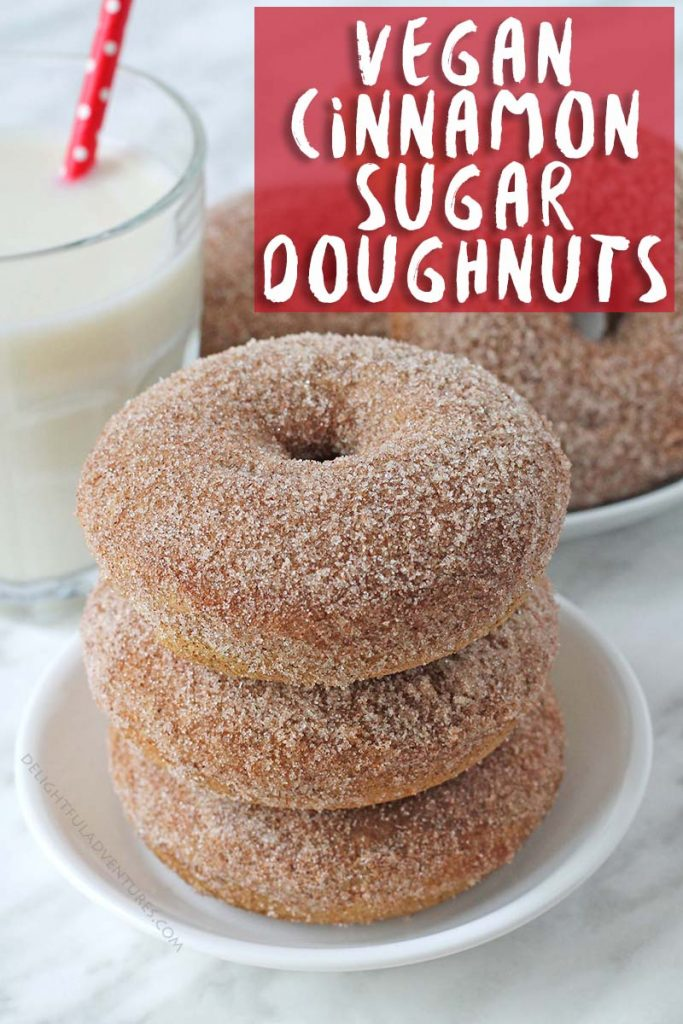 Baked vegan cinnamon sugar doughnuts that will fulfill all of your doughnut dreams! They're perfectly spiced, soft, fluffy and are coated with cinnamon and sugar. These vegan doughnuts can also be made gluten free!
