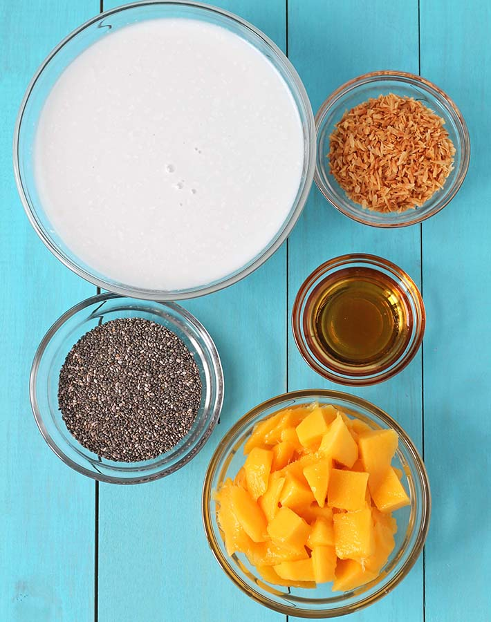 Ingredients for mango coconut chia pudding