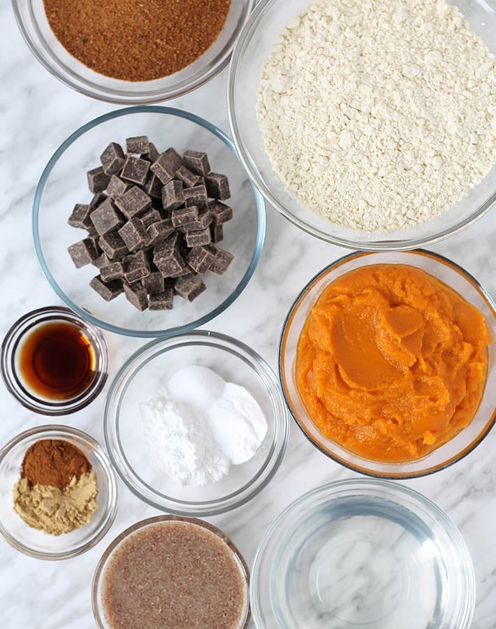 Overhead shot of all the ingredients needed to make sweet potato bread gluten free.