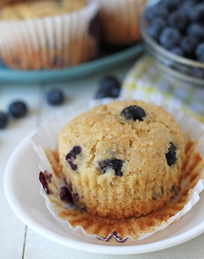 A vegan blueberry muffin on a plate with the muffin wrapper peeled down.