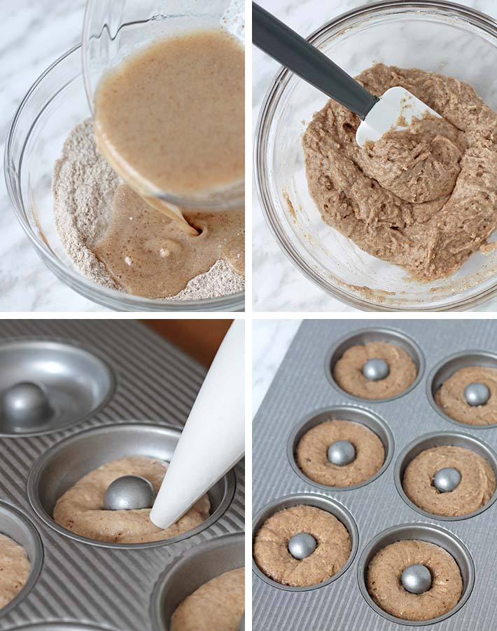 First sequence of steps needed to make cinnamon sugar vegan doughnuts.