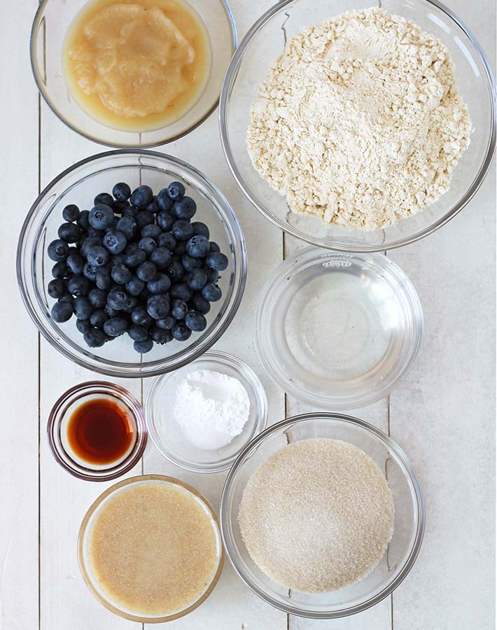 The ingredients needed to make gluten free vegan blueberry muffins.