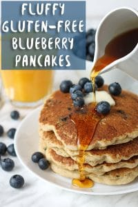 Fluffy, light, and delicious vegan gluten-free blueberry pancakes that will become a new breakfast and brunch favourite! All you need is a few simple ingredients to make these classic pancakes your entire family will love.