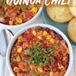 Easy Vegan Quinoa Chili loaded with good-for-you ingredients! This recipe comes together in under 30-minutes and is perfect for a quick dinner or lunch.