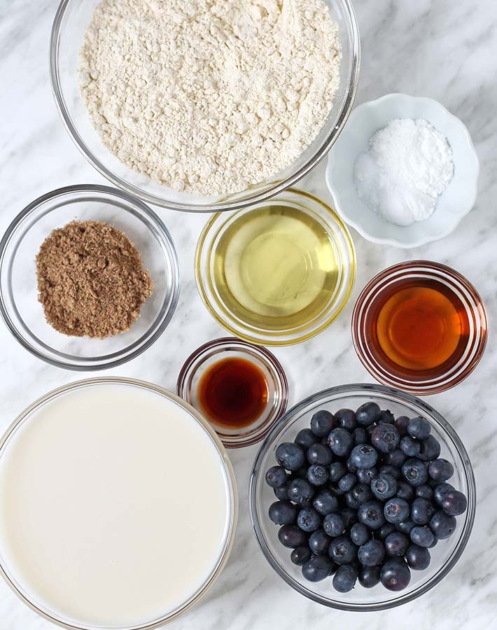Ingredients needed to make healthy gluten free blueberry pancakes.