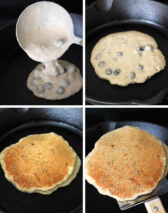 Second sequence of steps needed to make dairy free blueberry pancakes.