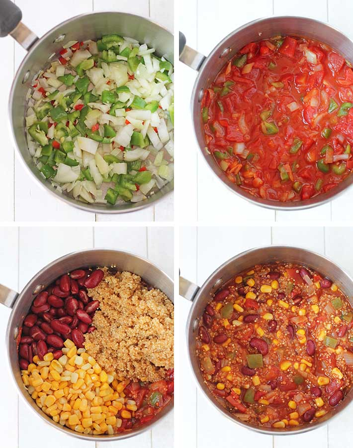 Sequence of steps needed to make vegan quinoa chili.