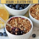 Enjoy a sweet, delicious taste of summer in every bite of this easy-to-make gluten-free blueberry crisp. It can be made with either fresh or frozen berries.