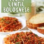 Shortcut vegan bolognese made with lentils and pantry staples. You can have this filling, flavorful, kid-friendly meal on the table in under 30-minutes!
