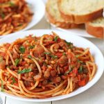 A plate of vegetarian spaghetti bolognese.