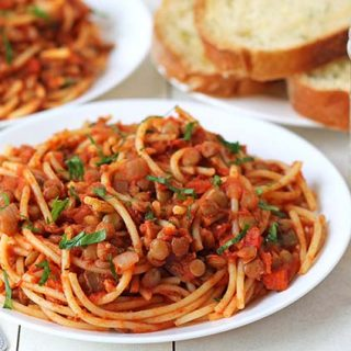 A plate of vegetarian spaghetti bolognese.