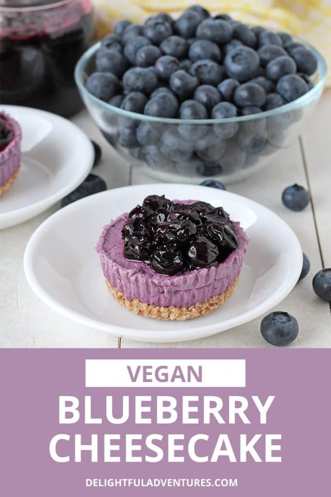 Easy-to-make, no-bake mini vegan blueberry cheesecake that contain no cashews. This creamy and delicious dairy-free dessert can be made with either fresh or frozen blueberries.