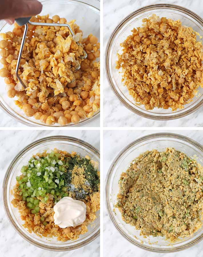 Sequence of steps needed to make chickpea chicken salad.