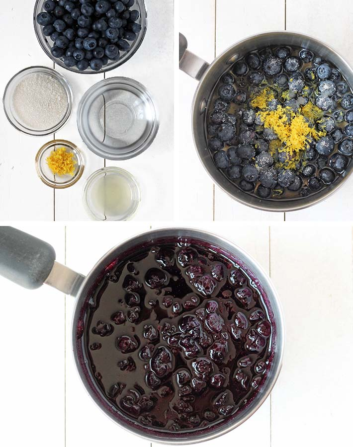 Sequence of steps needed to make fresh blueberry sauce.