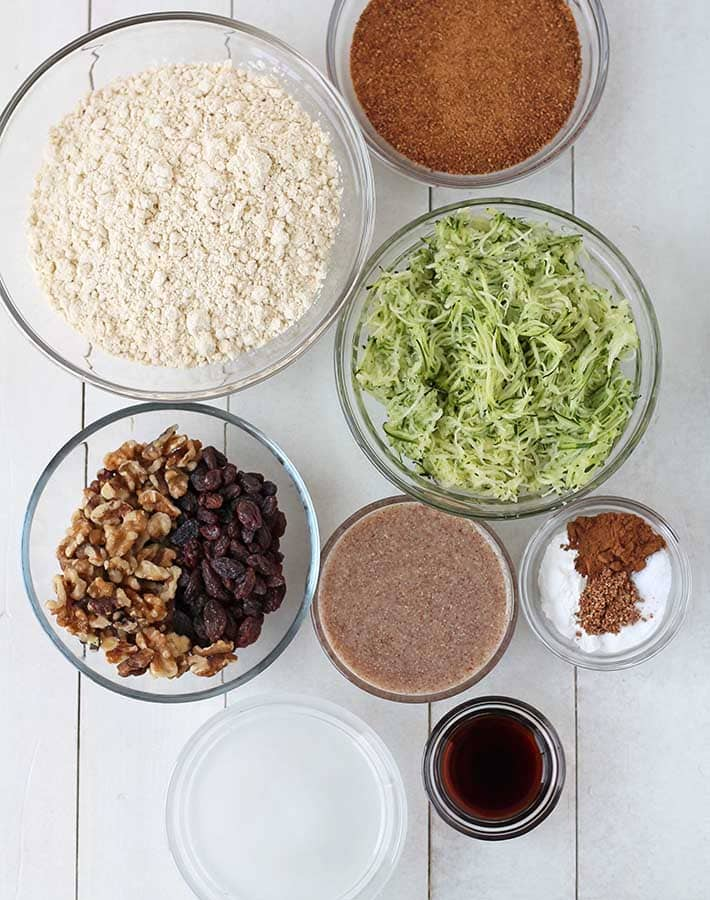 Overhead shot of the ingredients needed to make gluten free zucchini loaf.