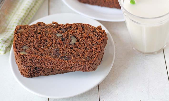 Close up shot of zucchini bread on a plate.