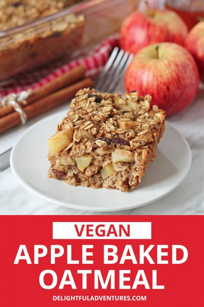 Wholesome vegan baked oatmeal filled with pieces of warm baked apples and spices. This vegan apple baked oatmeal recipe is oil-free, egg-free, dairy-free and perfect for vegan breakfast meal-prep.