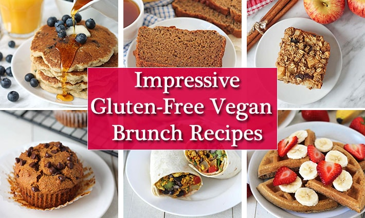 A collage of six images showing vegan gluten free brunch recipes.