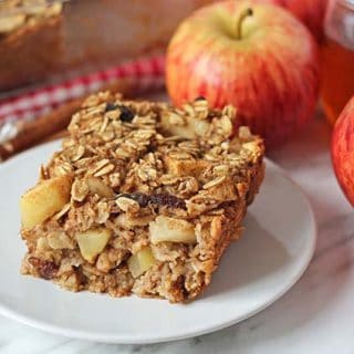 A close up shot of a slice of vegan gluten free baked oatmeal.
