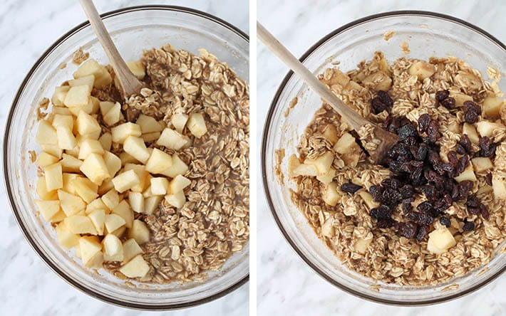The add-ins for healthy baked oatmeal being added to the mixture.