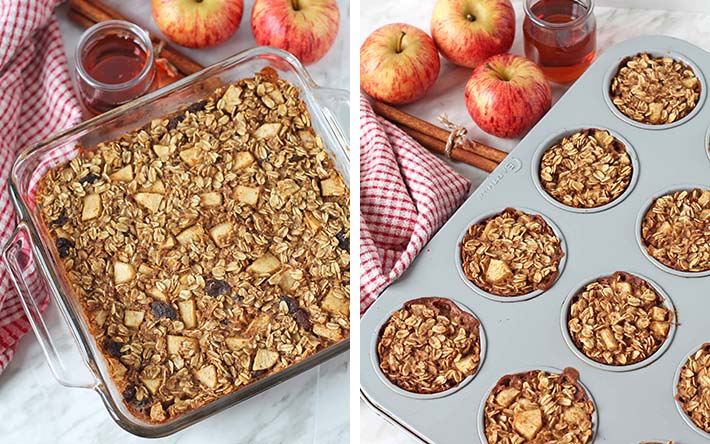 A collage of two images showing the different types of bakeware you can make apple baked oatmeal in.