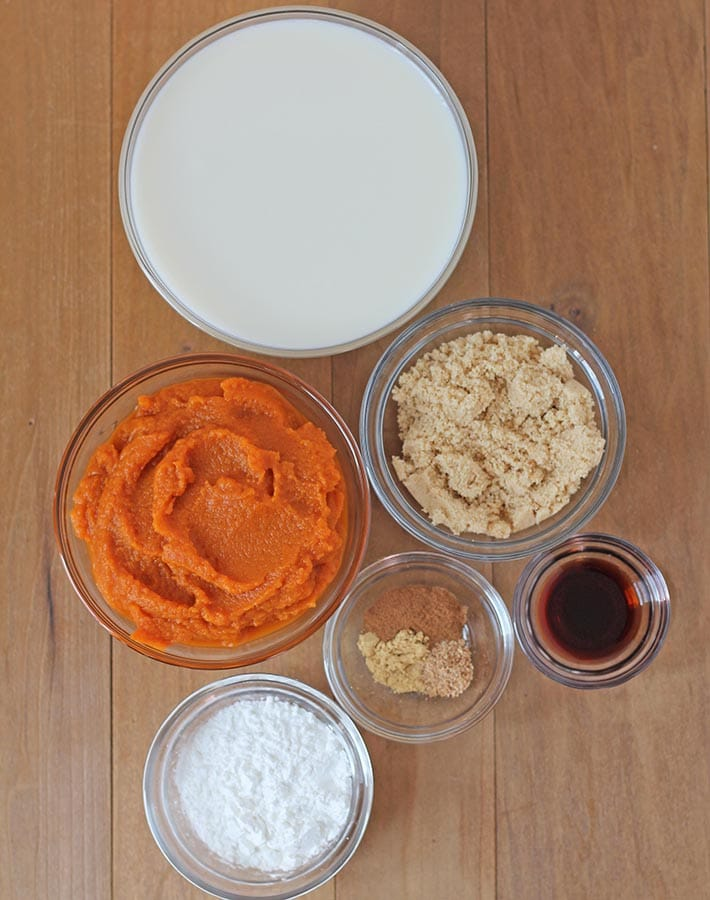Overhead shot showing the ingredients needed to make eggless pumpkin pudding.
