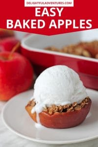 This baked apples recipe is a classic fall dessert you and your family will love! Topped with a delicious, perfectly spiced, and lightly sweetened oat filling, it's a simple vegan dessert that takes little time to prepare and clean up is quick and easy. These easy baked apples are the perfect ending to a meal and will become a new autumn favourite.