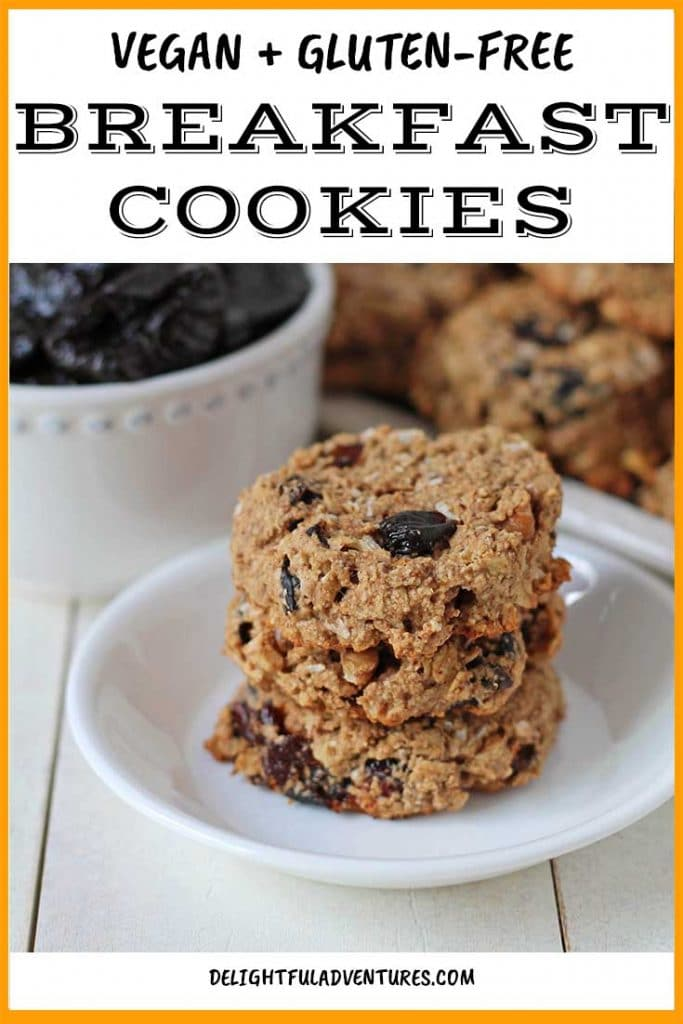 Who can say no to cookies for breakfast?! These easy vegan breakfast cookies are a fun, make-ahead vegan breakfast for when you need something fast or you're on the go. Filled with add-ins you can customize, it's a gluten-free breakfast recipe that takes little time to prepare. Make these soft breakfast cookies on the weekend for the week ahead.