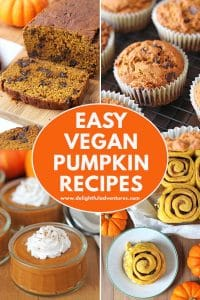 All of these simple vegan pumpkin recipes are filled with pumpkin spicy goodness! Find recipes for breakfast, snacks, and desserts that you and your family will love. The easy recipes in this list are all vegan, and the majority of them are gluten free, plus, they're all quick to prepare and will have you wanting to make them outside of Thanksgiving and the fall season!